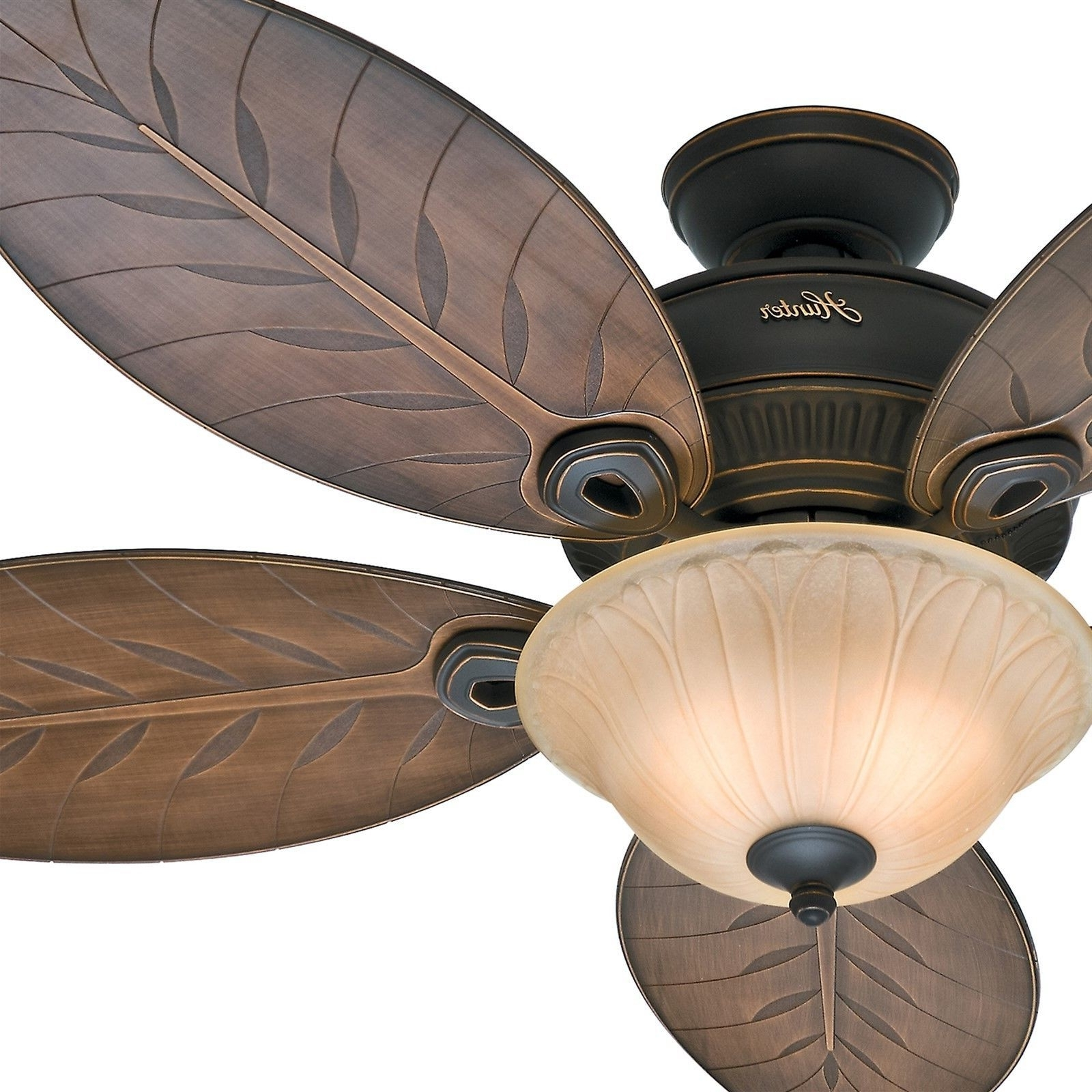 """54"""" Hunter Casual Outdoor Ceiling Fan Tropical / Traditional Light Regarding Recent Leaf Blades Outdoor Ceiling Fans (View 16 of 20)"""