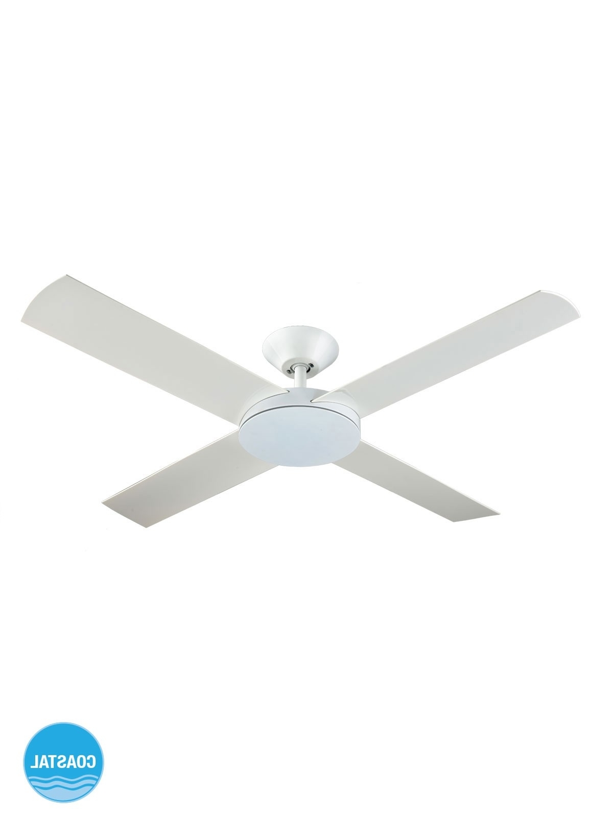 Aero 132cm Fan Only In White With Regard To Well Liked Outdoor Ceiling Fan With Light Under $ (View 20 of 20)
