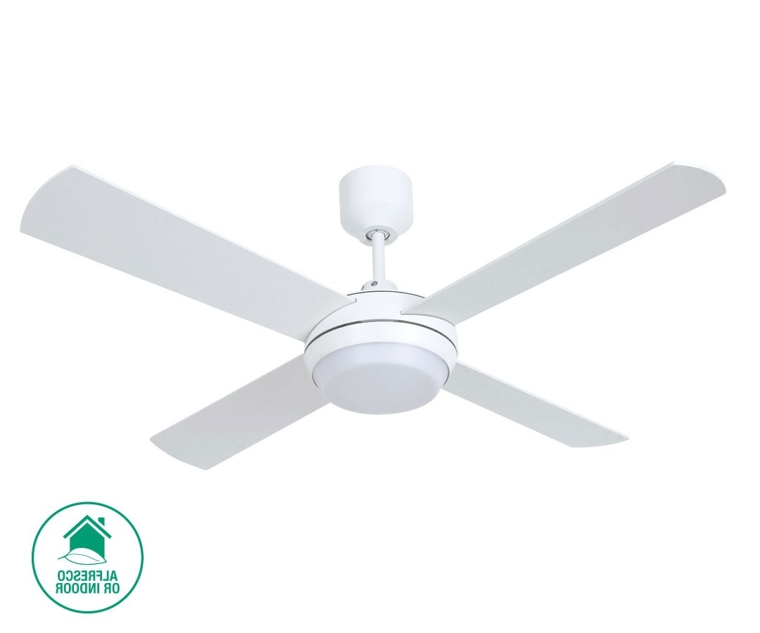 Altitude Eco 132cm Fan With Led Light In White Throughout Trendy Outdoor Ceiling Fans With Led Globe (View 13 of 20)