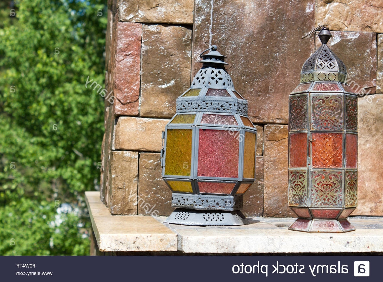 Antique Looking Metal Lanterns With Colorful Stained Glass Panels Inside Preferred Colorful Outdoor Lanterns (View 1 of 20)