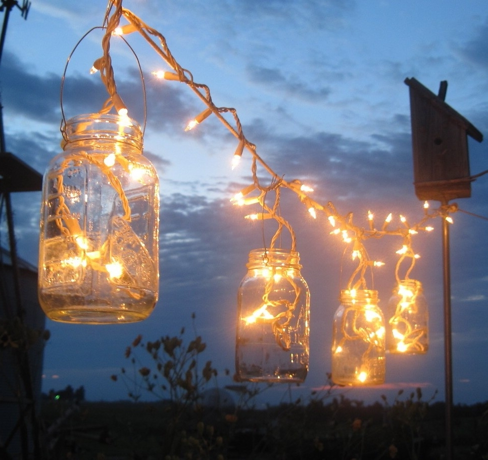Backyard Outdoor Lighting Ideas With Diy Mason Jar Candle Holder Within Latest Outdoor Jar Lanterns (View 18 of 20)
