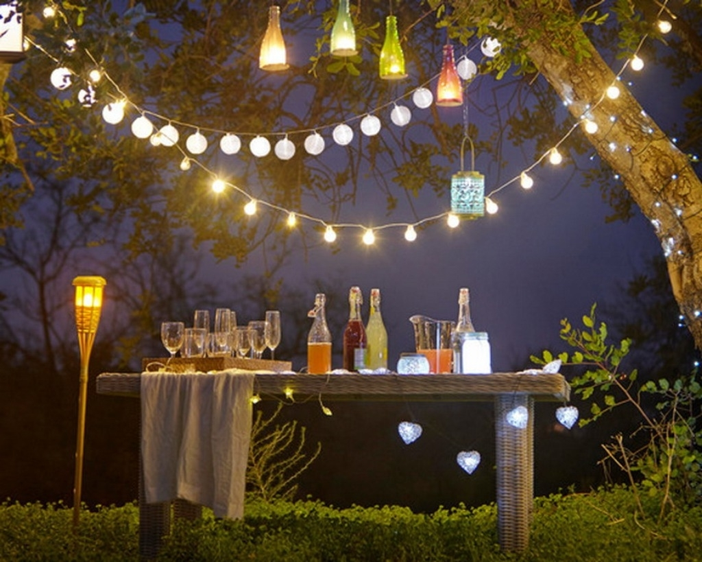 Backyard Party Lighting Contemporary Wine Bottle Candle Set Then Pertaining To Most Recent Outdoor Lanterns For Parties (Gallery 3 of 20)