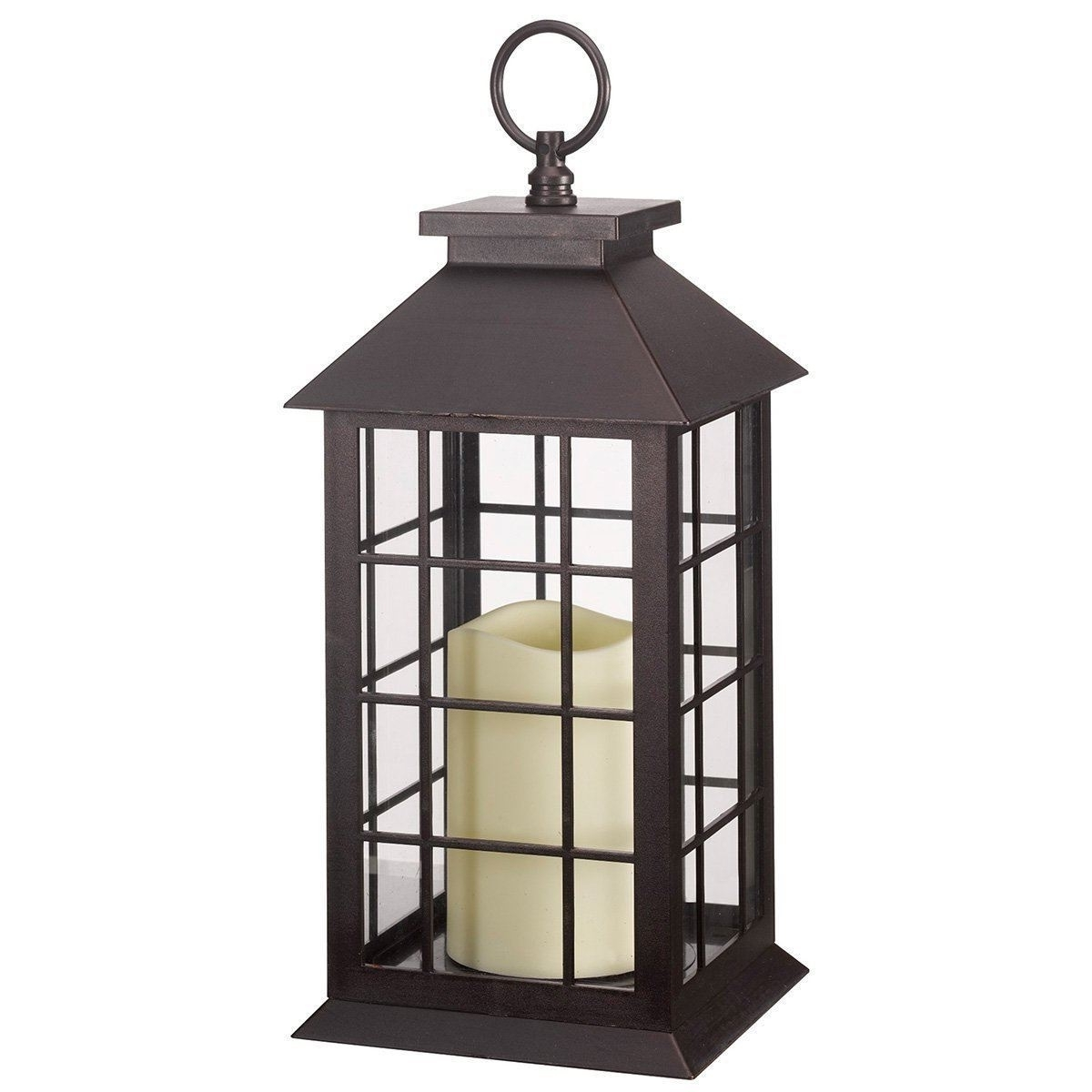 Battery Operated Window Lantern With Timer Led Candle Indoor Outdoor With Regard To 2018 Outdoor Timer Lanterns (View 1 of 20)