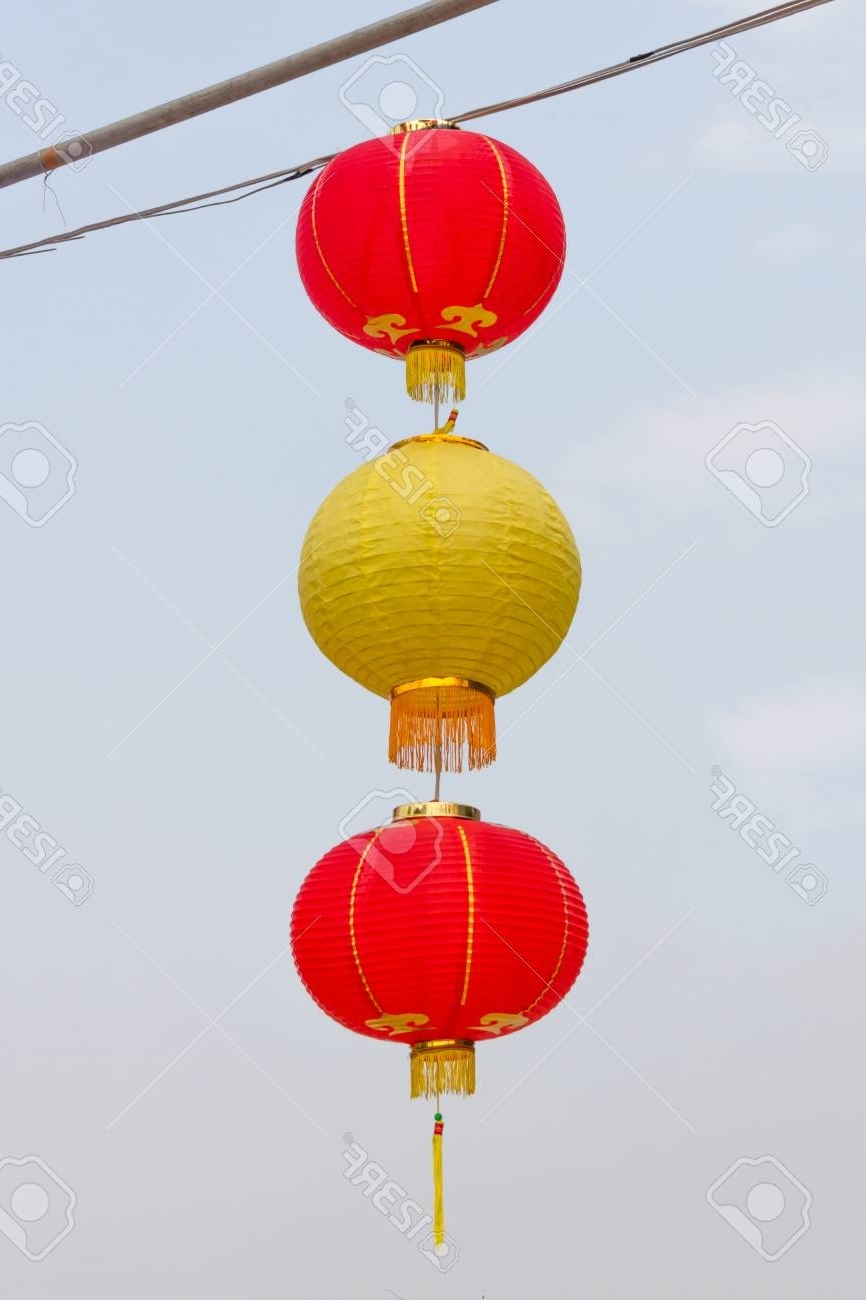 Beautiful Red & Yellow Asian Lanterns On Outdoor Stock Photo Pertaining To Newest Yellow Outdoor Lanterns (View 3 of 20)
