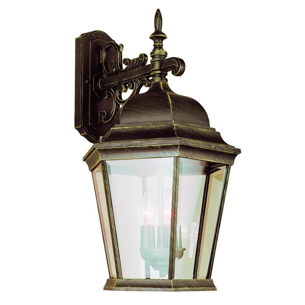 Bel Air Lighting Classical 3 Light Black Gold Outdoor Wall Mount For Best And Newest Gold Outdoor Lanterns (Gallery 7 of 20)