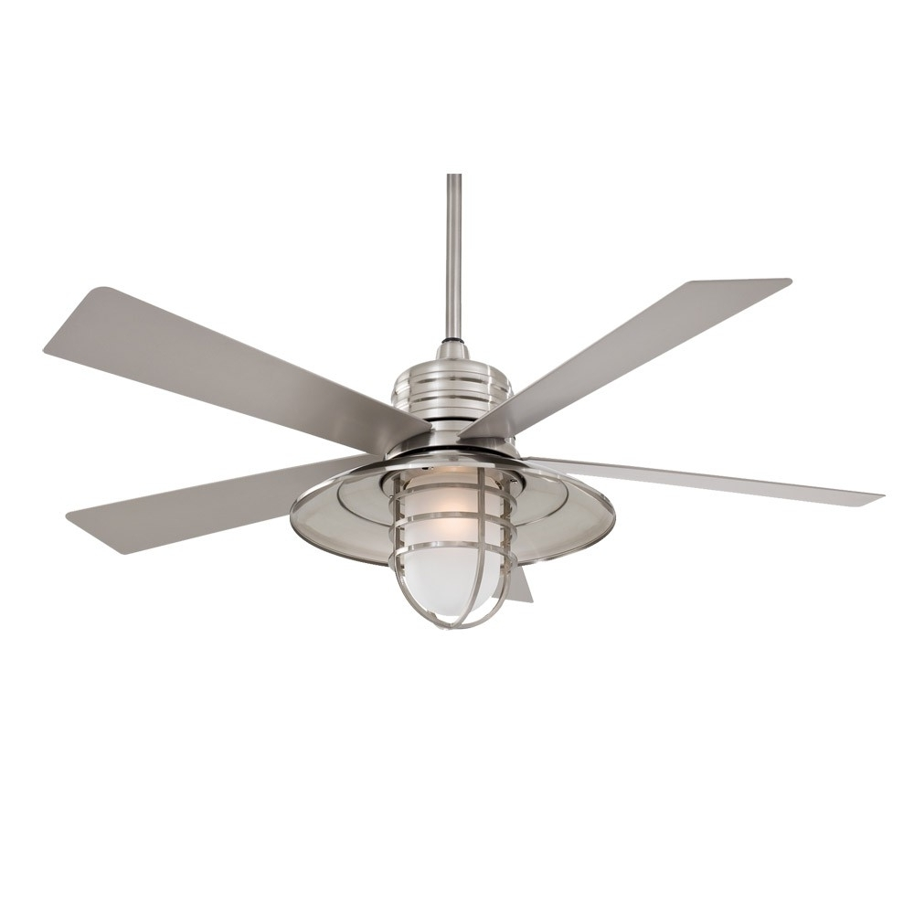 "Best And Newest 54"" Minka Aire Rainman Ceiling Fan – Outdoor Wet Rated – F582 Bnw Intended For Unique Outdoor Ceiling Fans With Lights (View 11 of 20)"