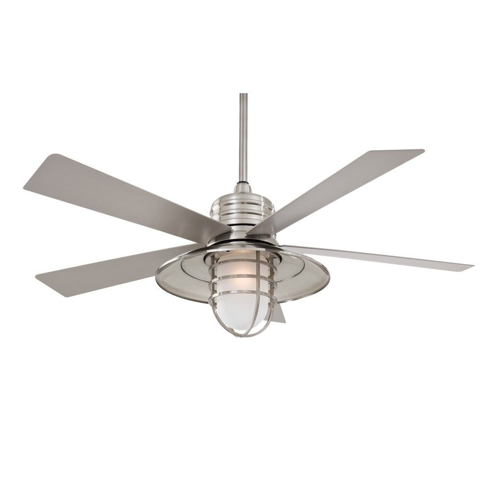"""Best And Newest 54"""" Minka Aire Rainman Ceiling Fan – Outdoor Wet Rated – F582 Bnw With Coastal Outdoor Ceiling Fans (View 4 of 20)"""