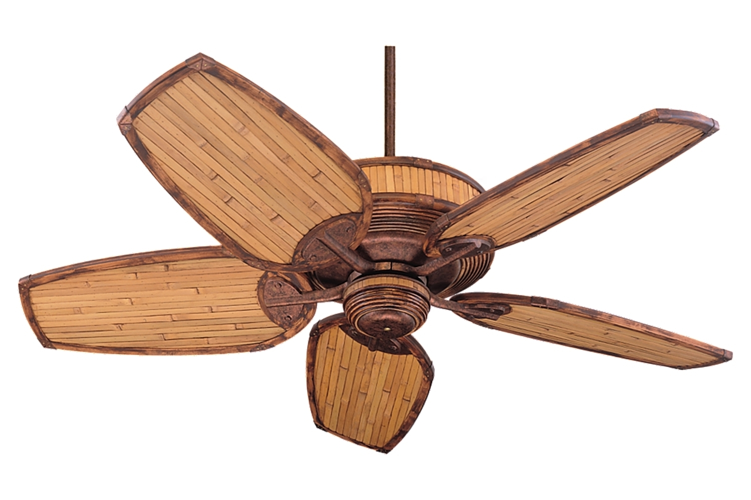 "Best And Newest Bamboo Outdoor Ceiling Fans Inside 5ml52fb,52"" Mandalay Fan – Florentine Bronze / Natural Bamboo (View 14 of 20)"
