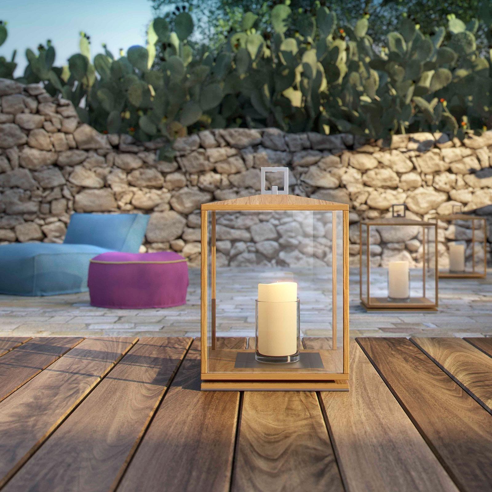 Best And Newest Cubico Outdoor Teak Lantern – Idd For Outdoor Teak Lanterns (Gallery 20 of 20)