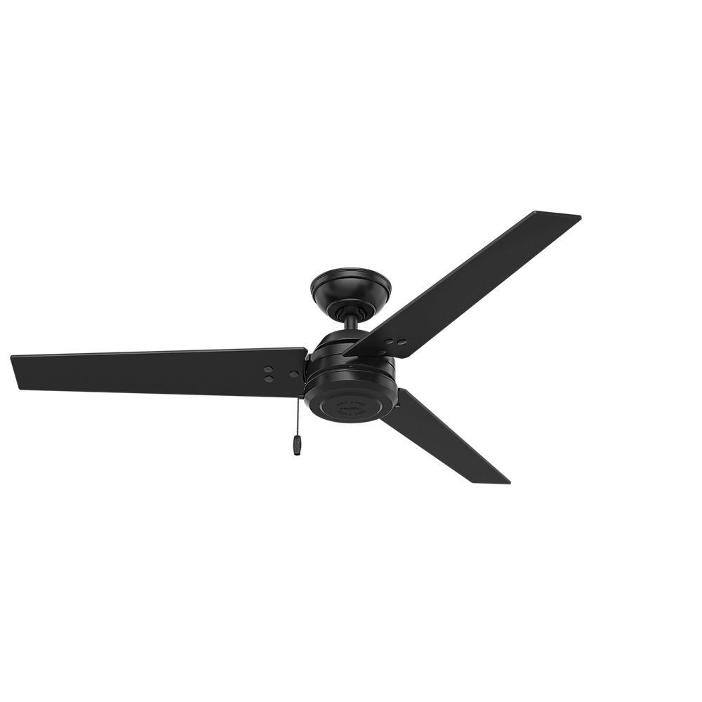 Best And Newest Hunter Cassius 52 In. Indoor/outdoor Matte Black Ceiling Fan 59264 Throughout Grey Outdoor Ceiling Fans (Gallery 19 of 20)