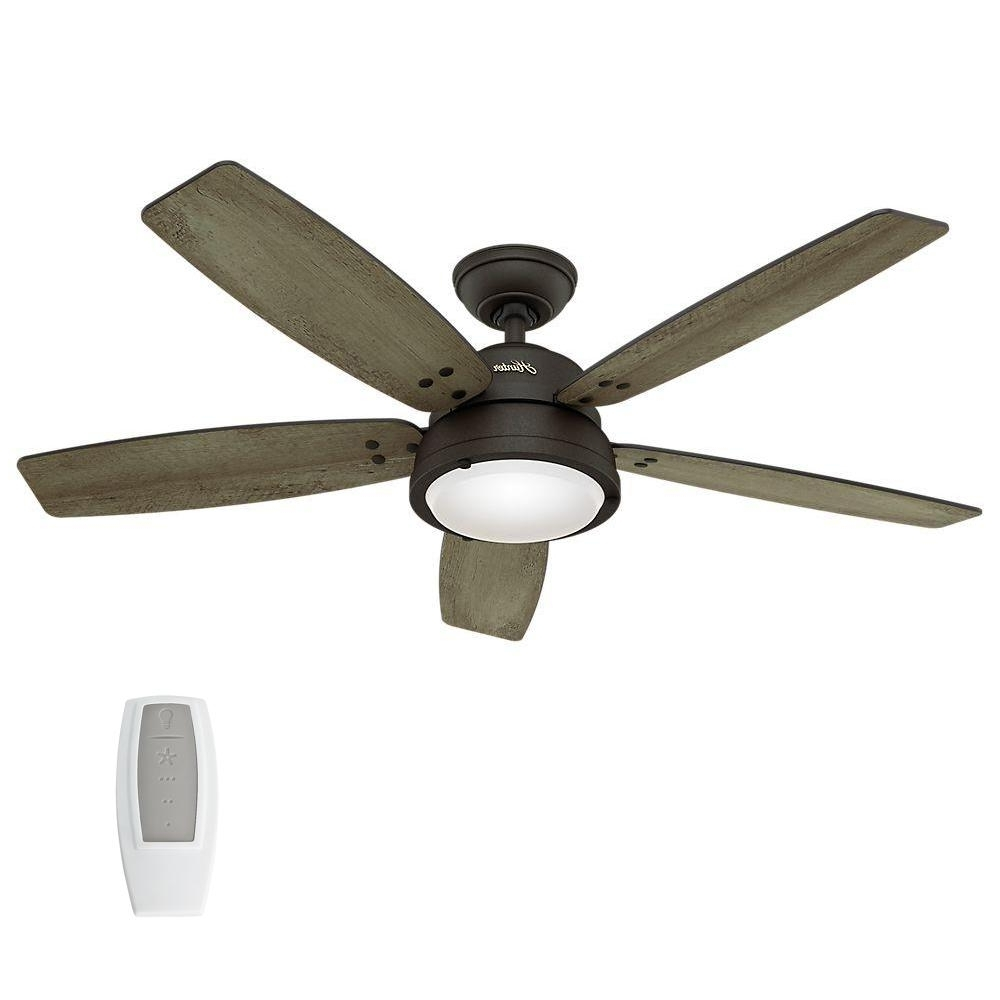 Best And Newest Hunter Channelside 52 In. Led Indoor/outdoor Noble Bronze Ceiling Within Outdoor Ceiling Fans With Lights And Remote Control (Gallery 1 of 20)