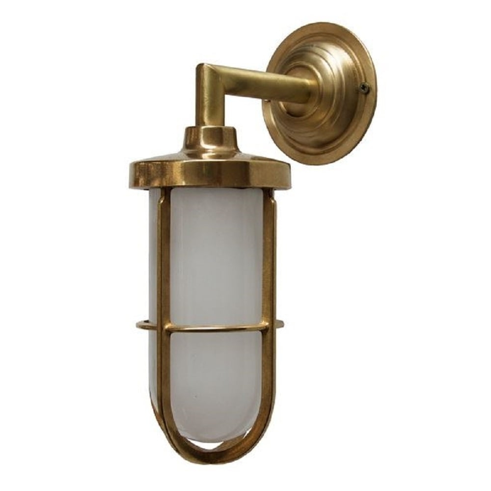 Best And Newest Indoor Or Outdoor Nautical Wall Light In Satin Brass With Frosted Glass Pertaining To Outdoor Nautical Lanterns (View 3 of 20)