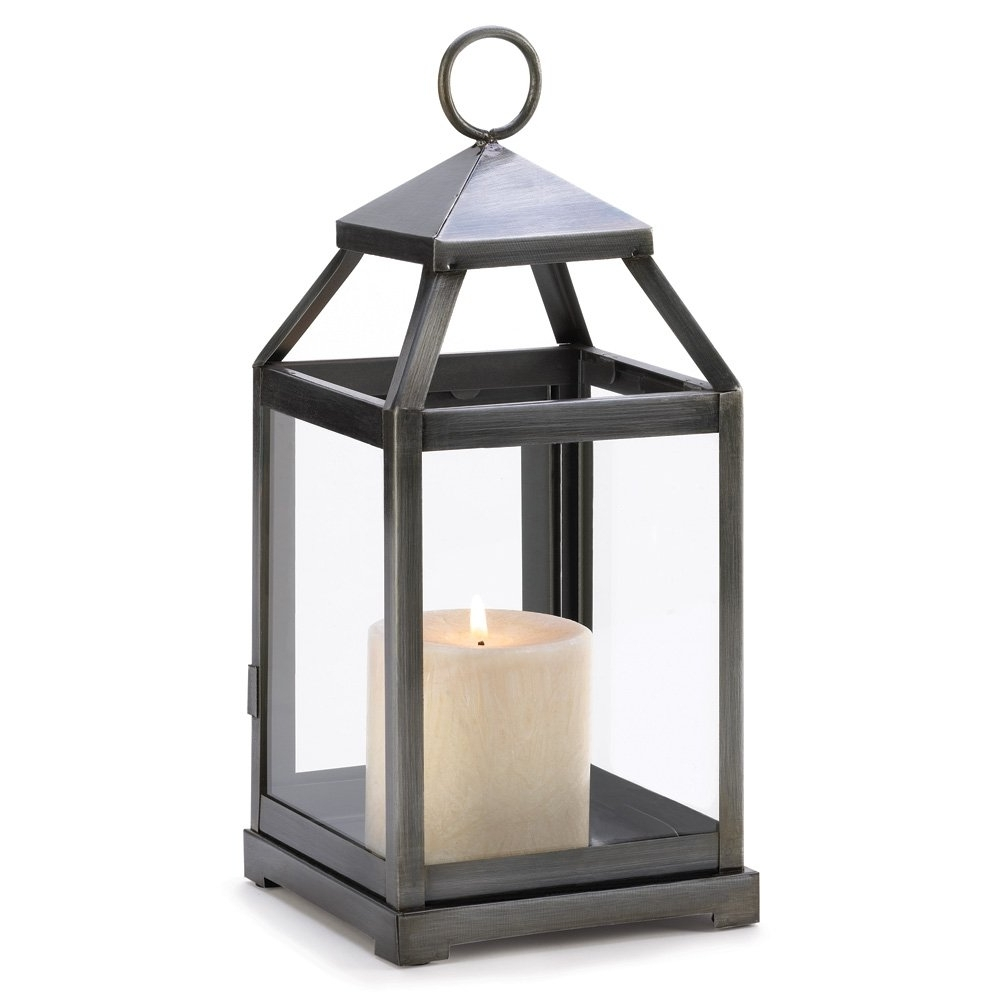Best And Newest Metal Candle Lanterns, Outdoor Small Rustic Silver Metal Candle Intended For Silver Outdoor Lanterns (View 2 of 20)
