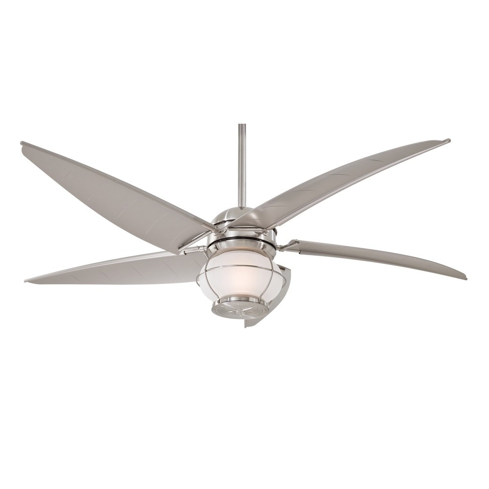 "Best And Newest Minka Outdoor Ceiling Fans With Lights Throughout Minka Aire Magellan F579 L Bnw 60"" Outdoor Ceiling Fan With Light (Gallery 13 of 20)"
