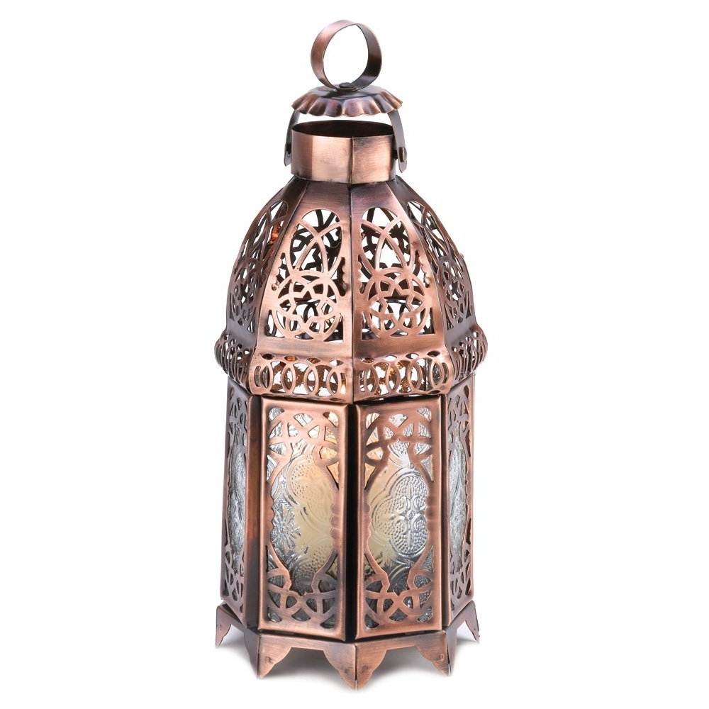 Best And Newest Moroccan Lanterns, Rustic Lantern Table Lamp, Copper Decorative Within Outdoor Lanterns For Tables (View 3 of 20)