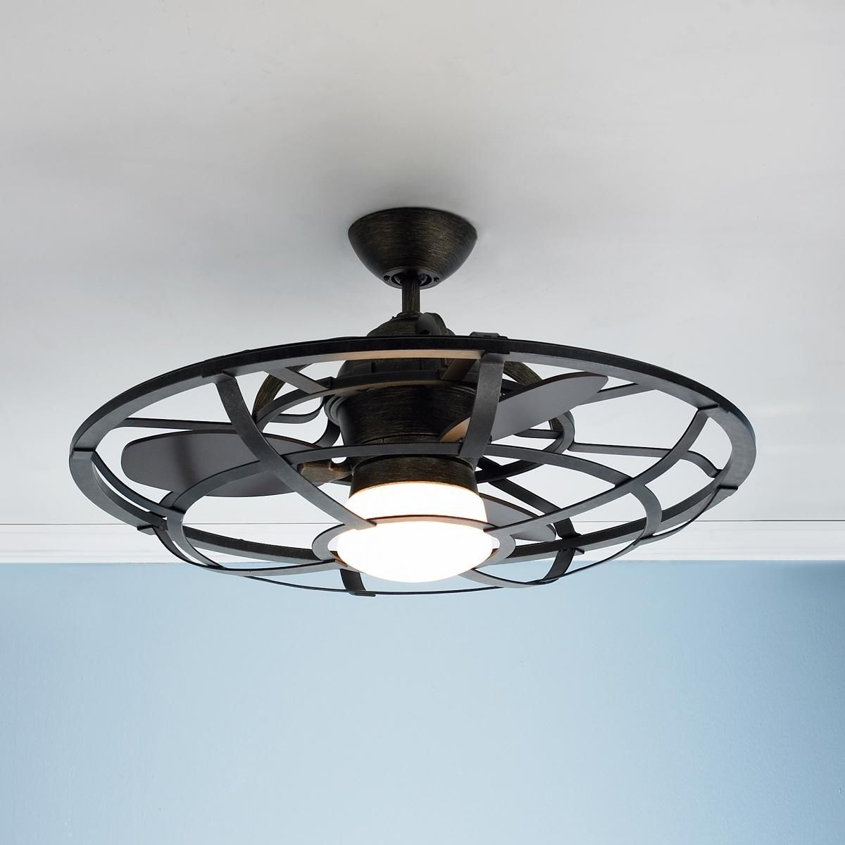 Best And Newest Outdoor Caged Ceiling Fans With Light Regarding Industrial Cage Ceiling Fan (Gallery 1 of 20)