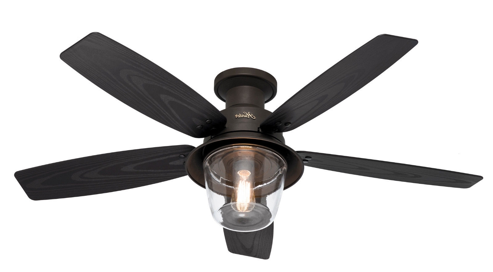 "Best And Newest Outdoor Ceiling Fans With Lantern Light Intended For Hunter 52"" Allegheny New Bronze Hugger Outdoor Damp Light Ceiling (View 4 of 20)"