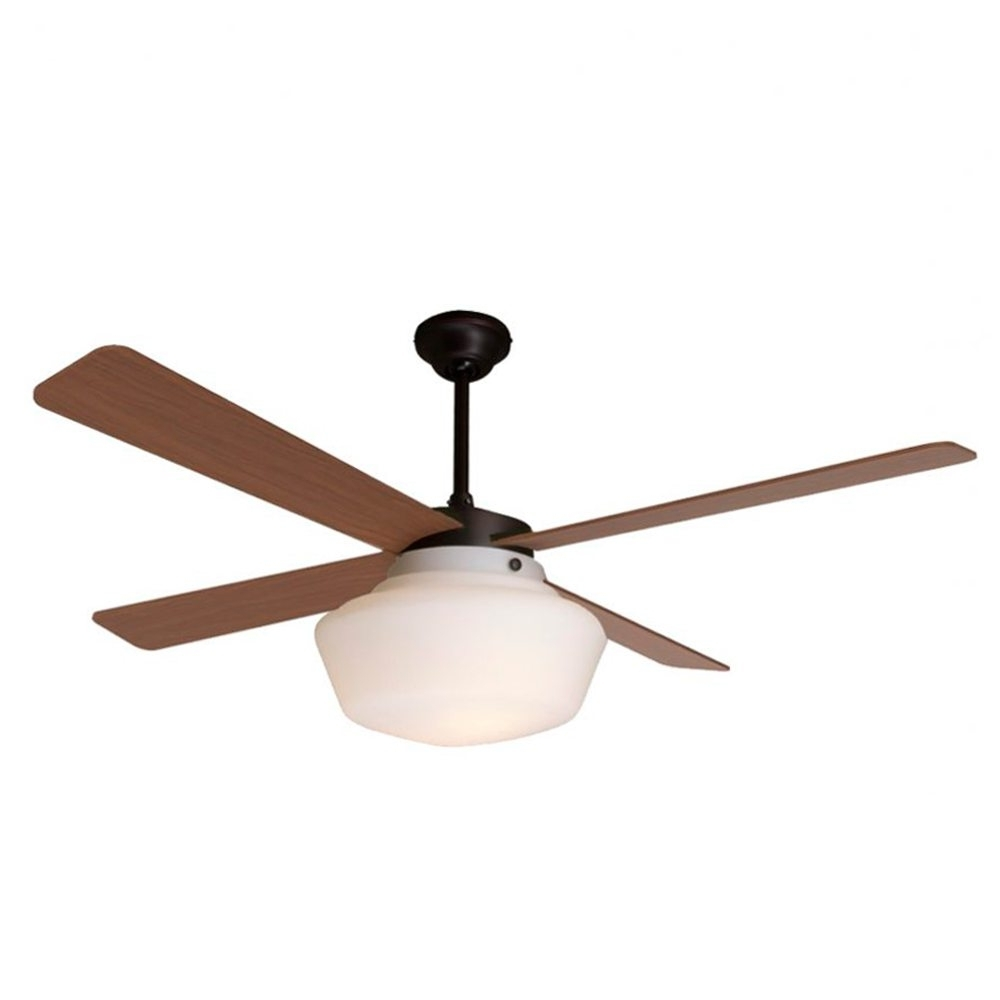 Best And Newest Outdoor Ceiling Fans With Schoolhouse Light With Schoolhouse Ceiling Fan Rubbed Bronze Mahogany Blades – Eid Fans (View 2 of 20)