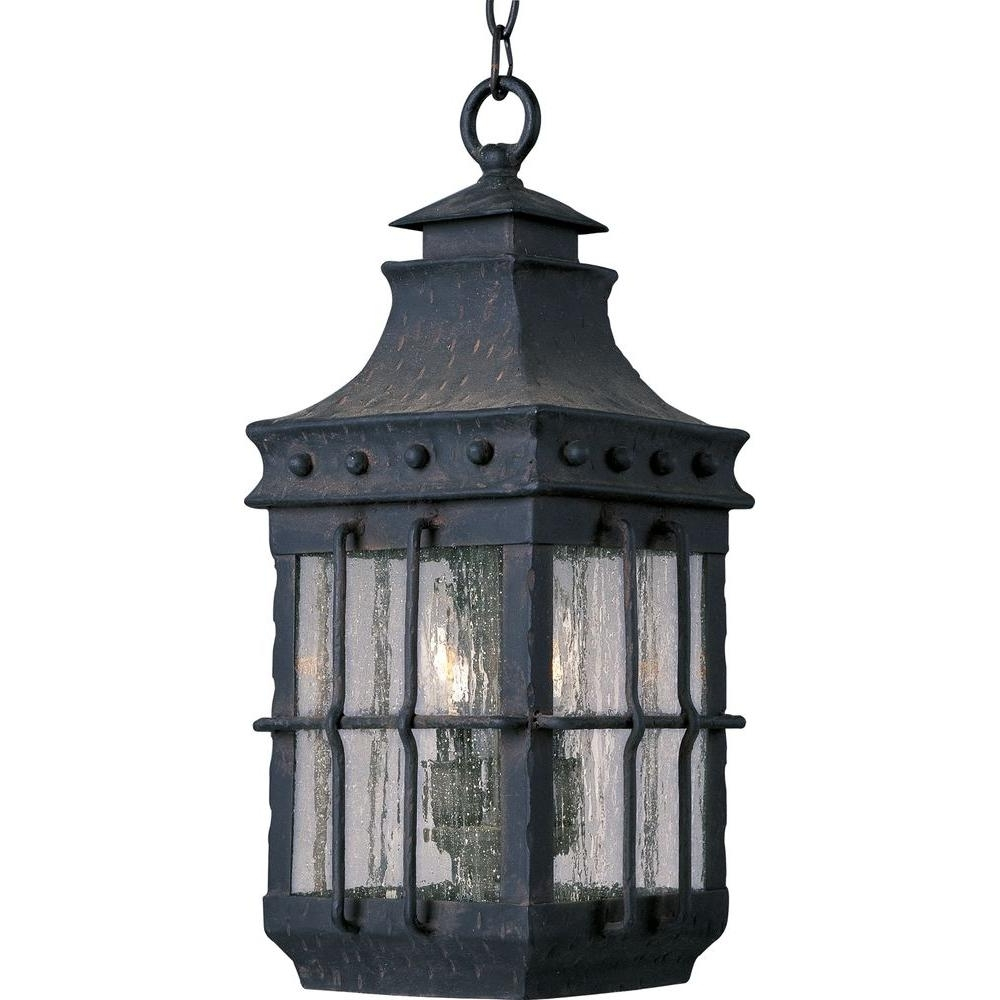 Best And Newest Outdoor Hanging Electric Lanterns With Maxim Lighting Nantucket 3 Light Country Forge Outdoor Hanging (View 11 of 20)