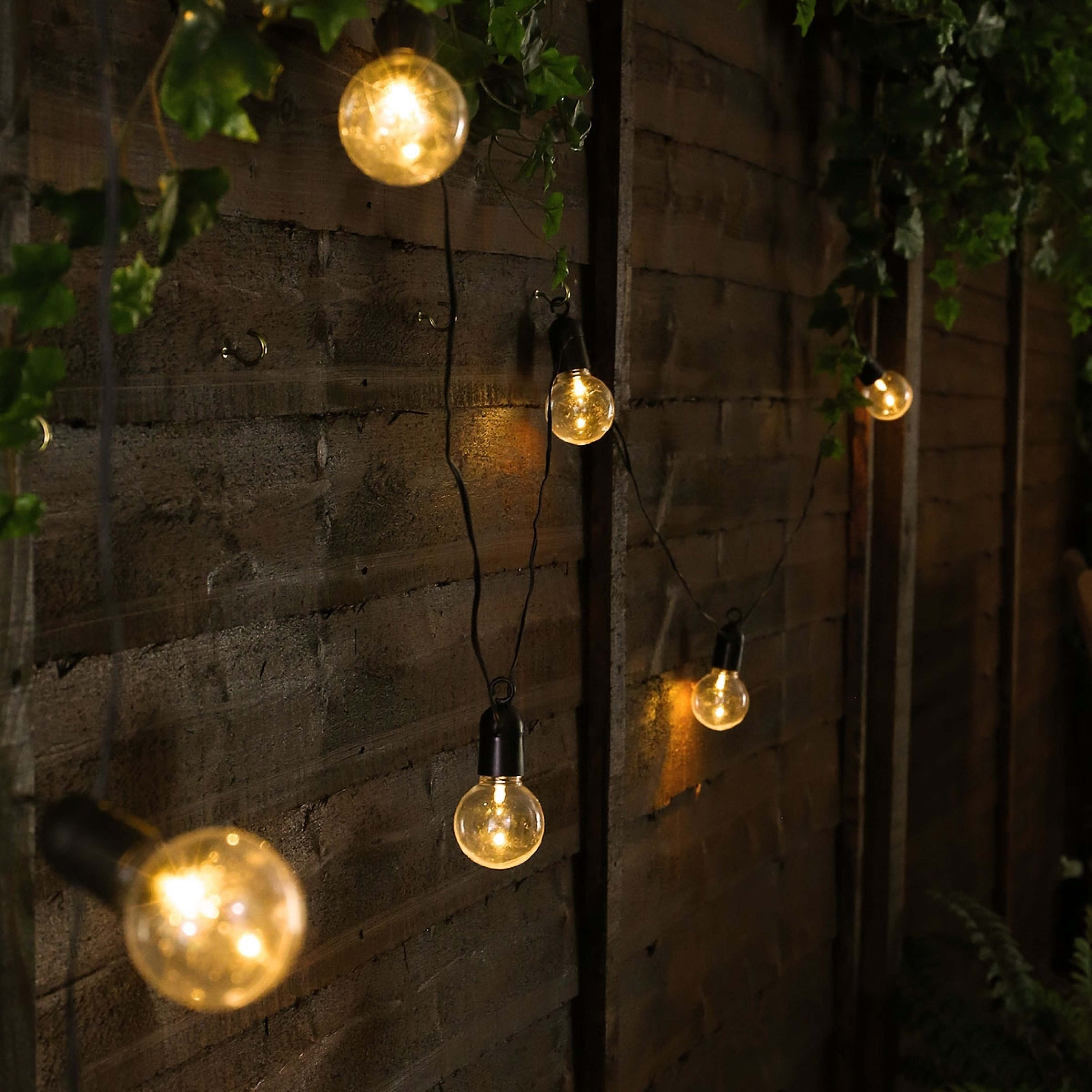 Best And Newest Outdoor Mains Lanterns With Outdoor Battery Festoon Lights, 10 Warm White Leds, Clear Bulbs (Gallery 13 of 20)