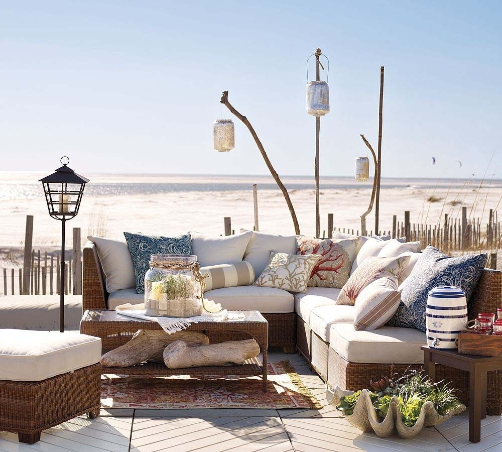 Best And Newest Outdoor Rattan Lanterns With Pottery Barn Beach Furniture For Outdoor Living Room With L Shape (View 16 of 20)