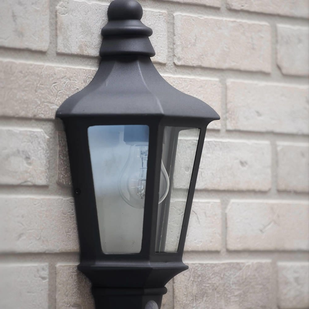 Best And Newest Perry Outdoor Pir Half Lantern – Dark Grey From Litecraft Within Outdoor Grey Lanterns (Gallery 4 of 20)