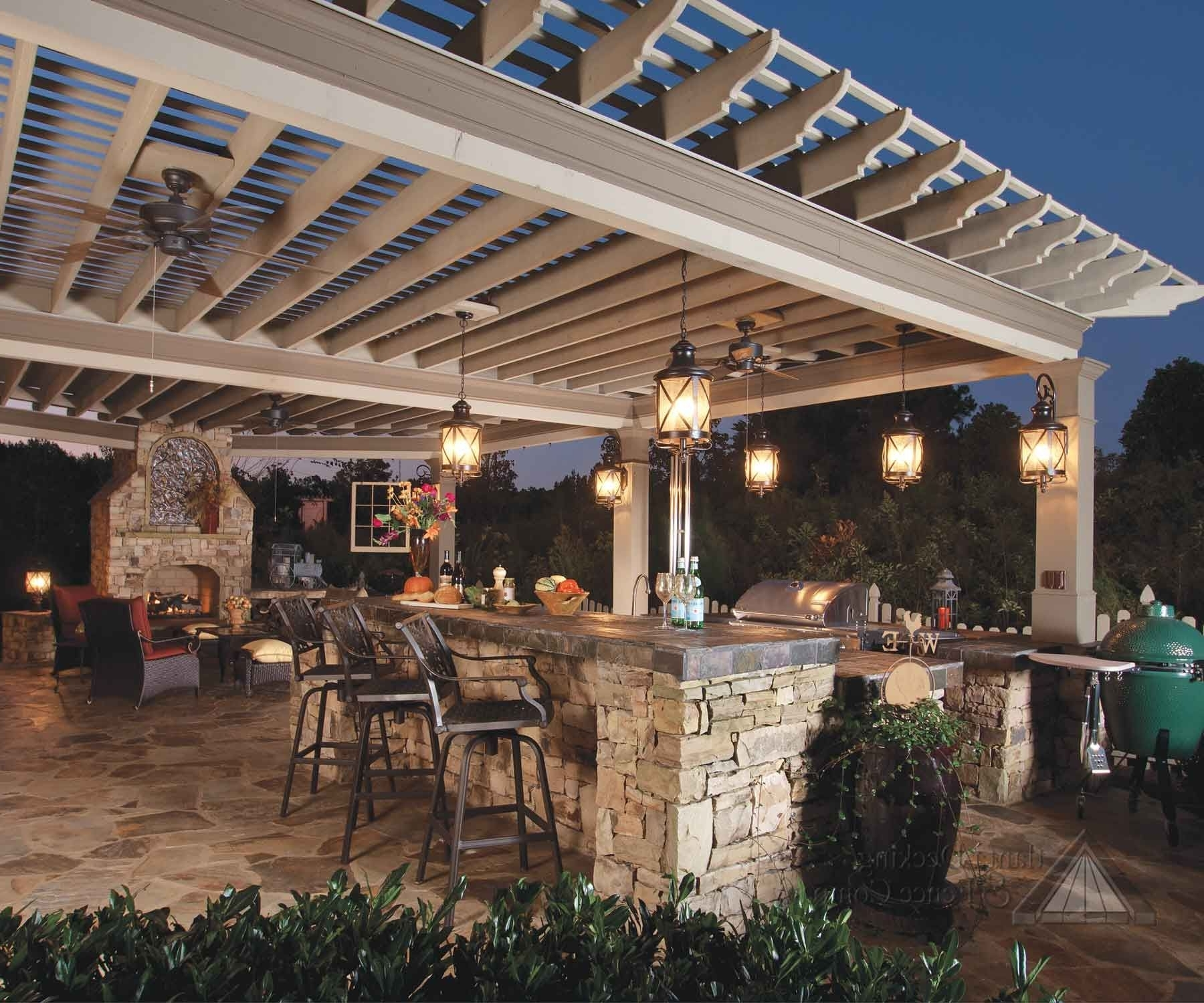 Best And Newest The Serving Area May Have A Raised Bar With Stools To Allow Guests Within Outdoor Ceiling Fans Under Pergola (View 3 of 20)