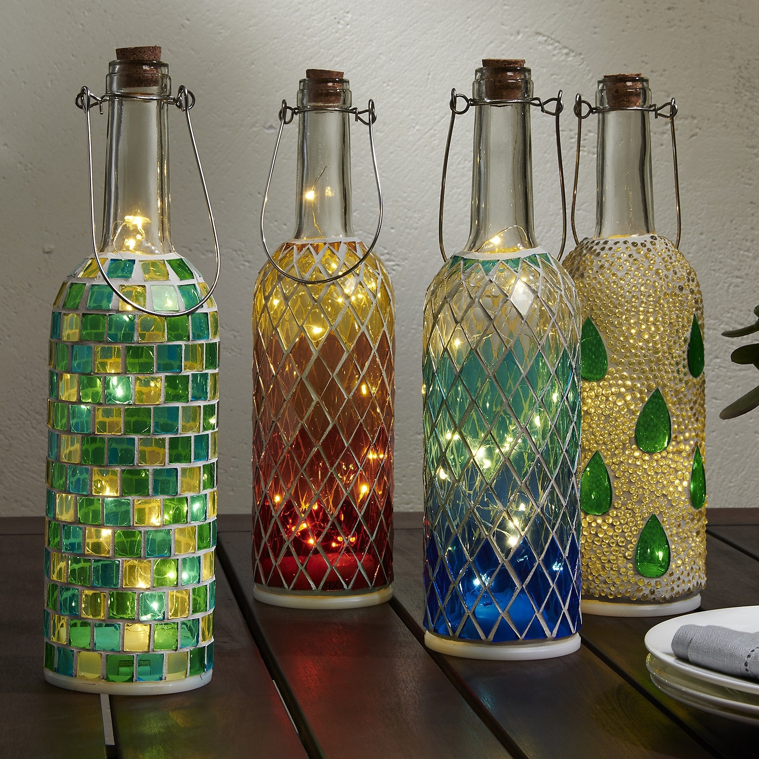 Best And Newest Wine Bottle Mosaic Lanterns (Set Of 4) – Wine Enthusiast Throughout Outdoor Mosaic Lanterns (View 2 of 20)
