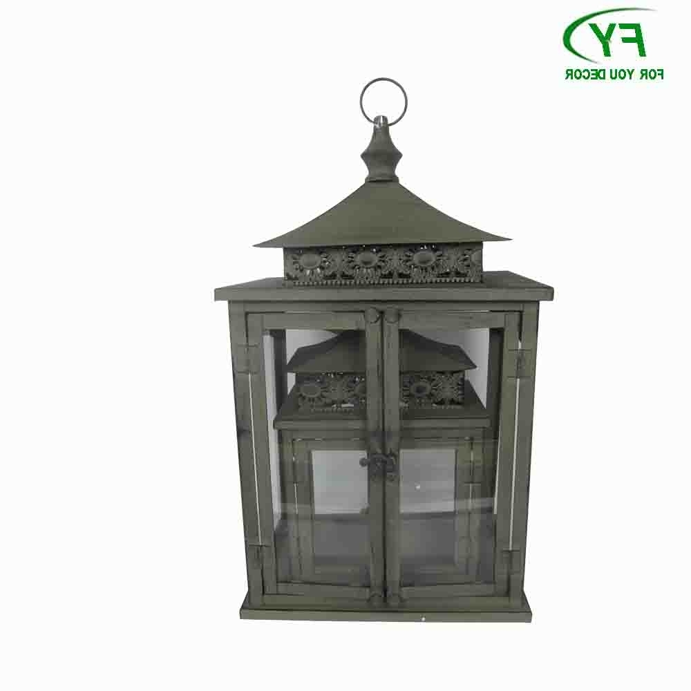 Big Outdoor Japan Style Metal Candle Lantern With Glass Panels Ml Inside Trendy Outdoor Big Lanterns (Gallery 1 of 20)