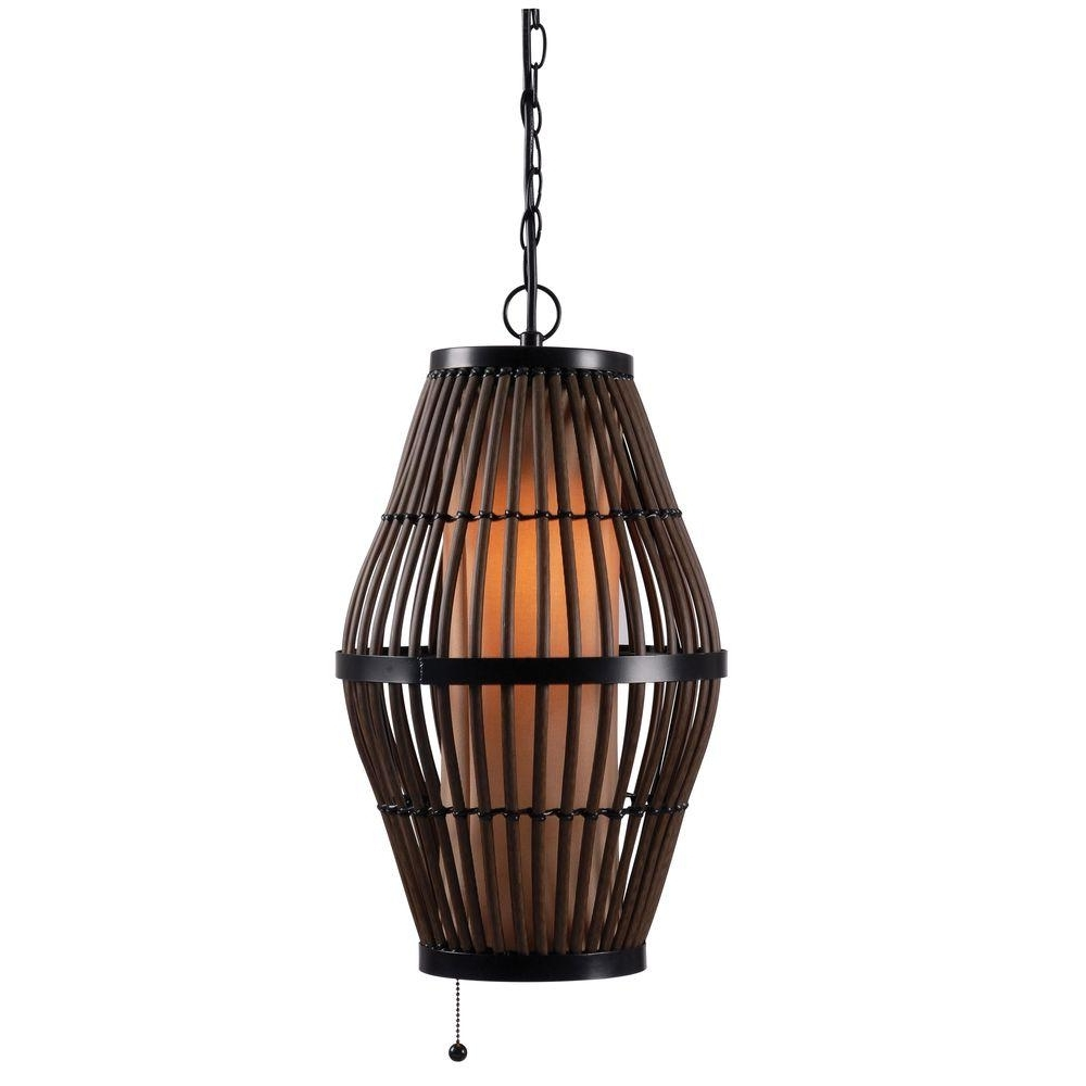 Biscayne 1 Light 12 In. Rattan Outdoor Pendant 93390Rat – The Home Depot Throughout Most Recently Released Outdoor Rattan Lanterns (Gallery 13 of 20)