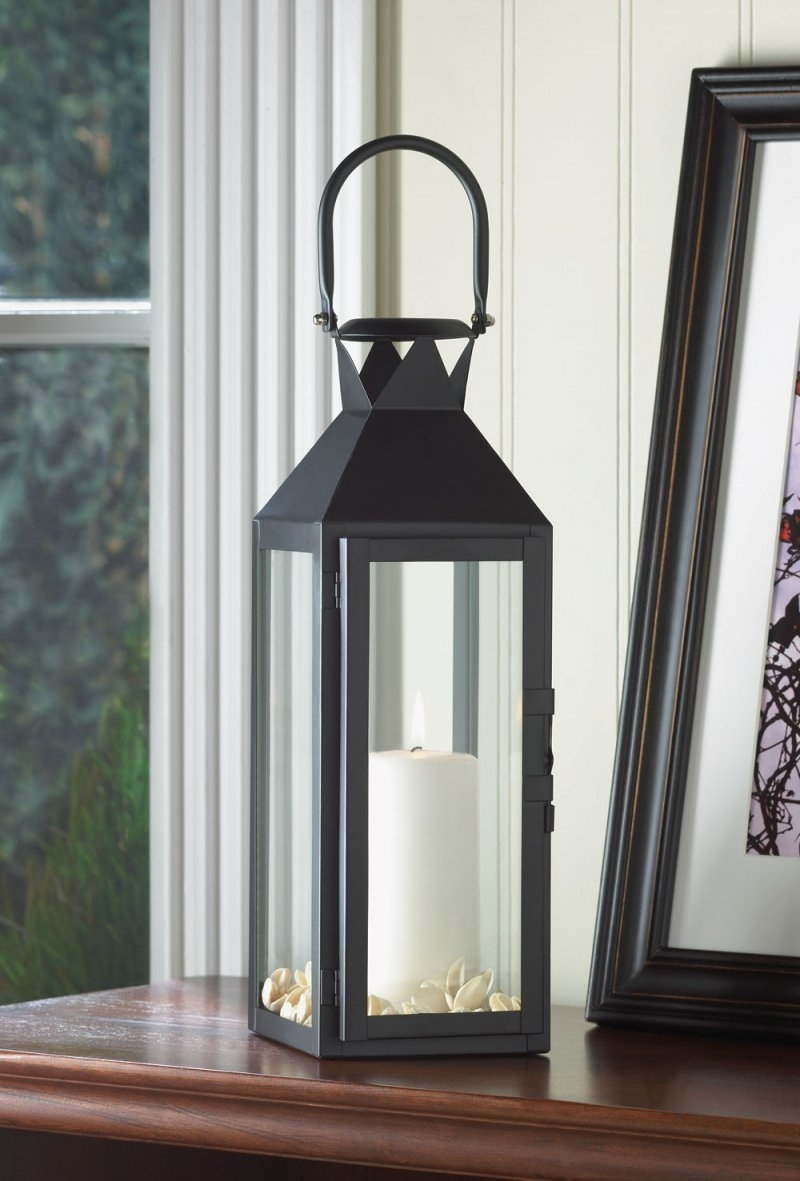 Black Contemporary Manhattan Pillar Candle Lantern Use Indoor Or Outdoor Throughout Most Popular Outdoor Candle Lanterns For Patio (Gallery 13 of 20)