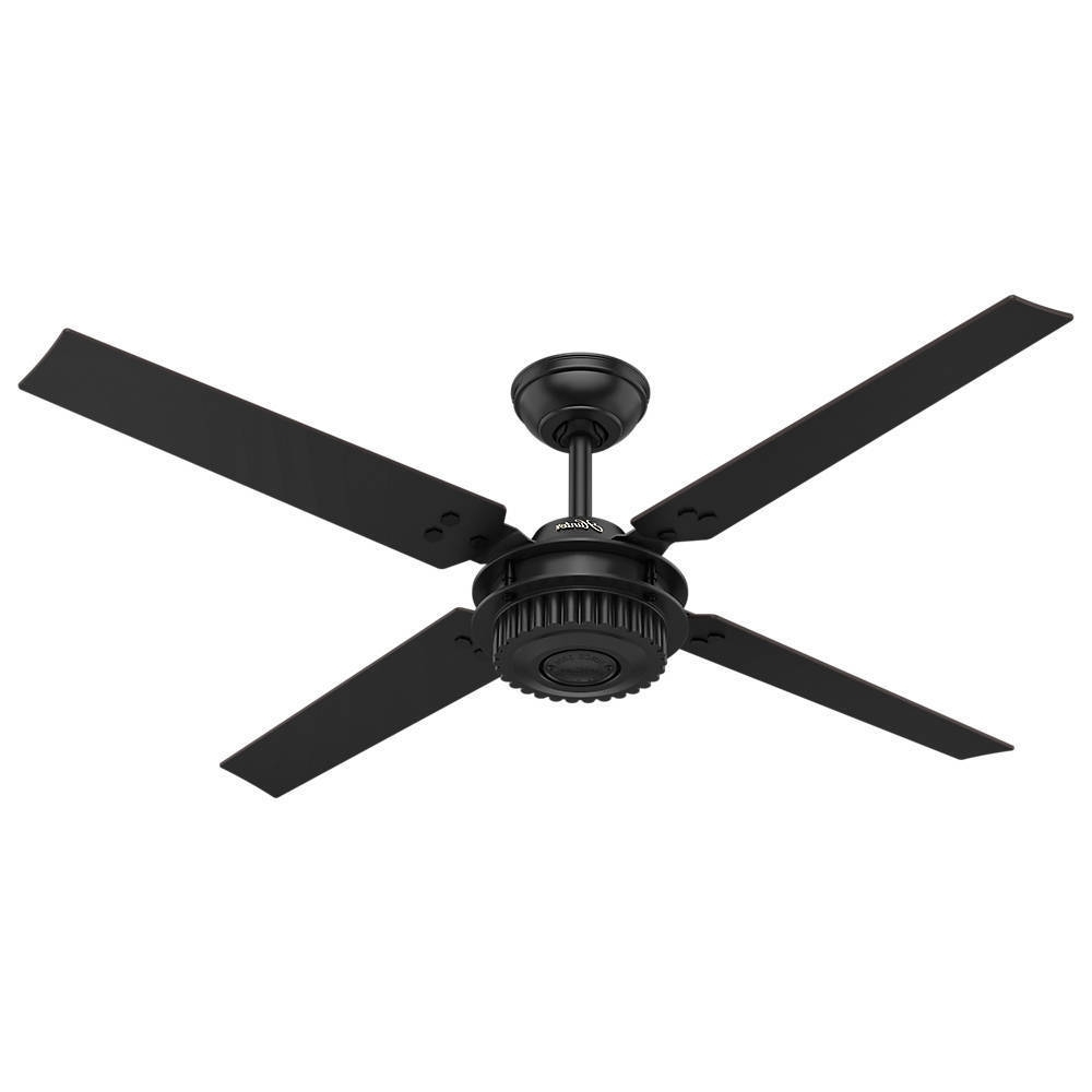 "Black Outdoor Ceiling Fans With Well Liked Hunter 59235 Chronicle Textured Satin Black 54"" Outdoor Ceiling Fan (View 5 of 20)"