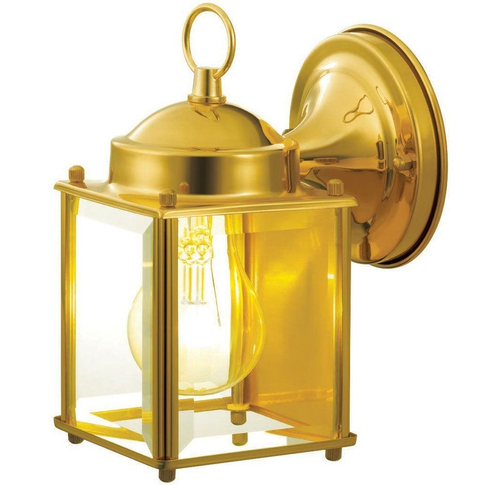 Brass Outdoor Lanterns In Well Known Hampton Bay 1 Light Polished Brass Outdoor Wall Mount Lantern (View 11 of 20)