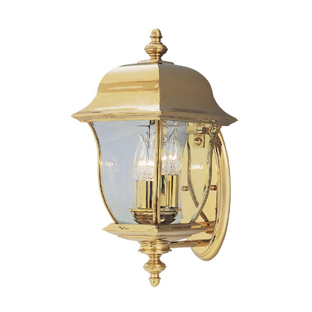 Brass Outdoor Lanterns With Famous Designers Fountain Oak Harbor 3 Light Polished Brass Outdoor Wall (View 5 of 20)