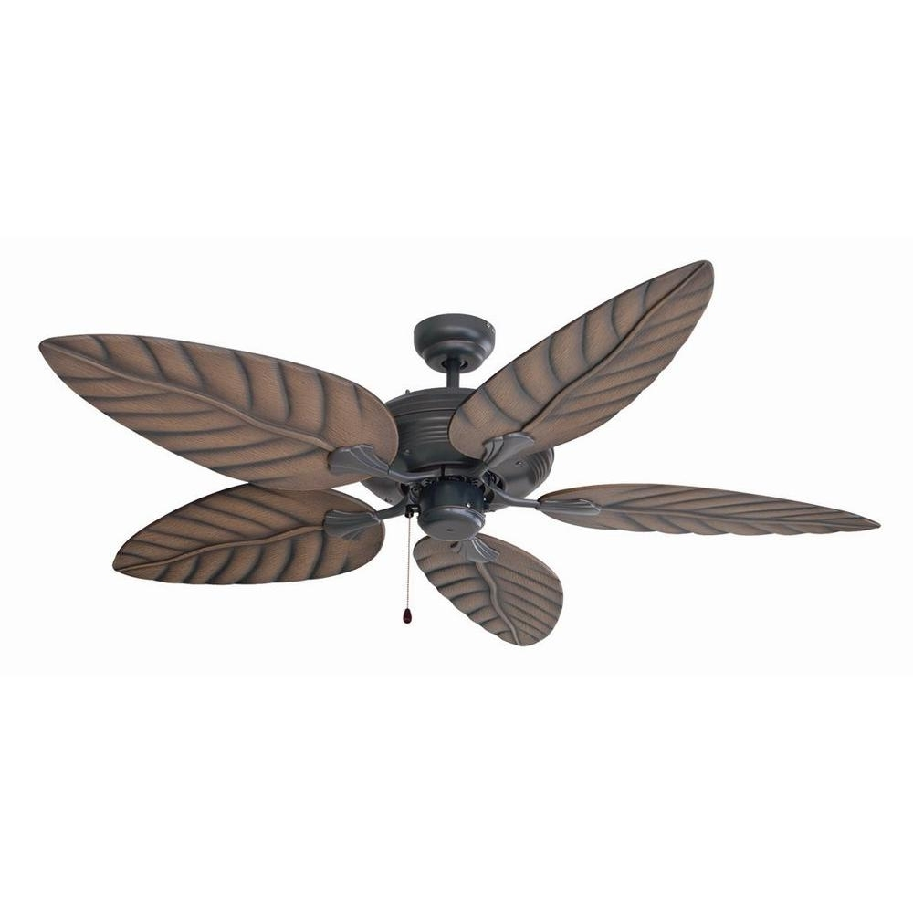 Brown Outdoor Ceiling Fan With Light Regarding Best And Newest Design House Martinique 52 In. Indoor/outdoor Oil Rubbed Bronze (Gallery 10 of 20)