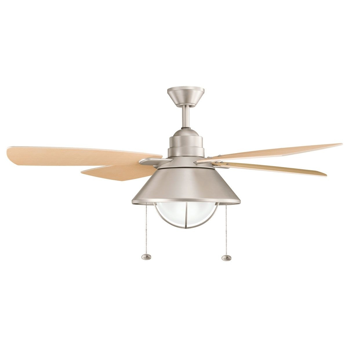 Brushed Nickel Outdoor Ceiling Fans Regarding 2018 Kichler Fans Seaside Ceiling Fan In Brushed Nickel (View 6 of 20)
