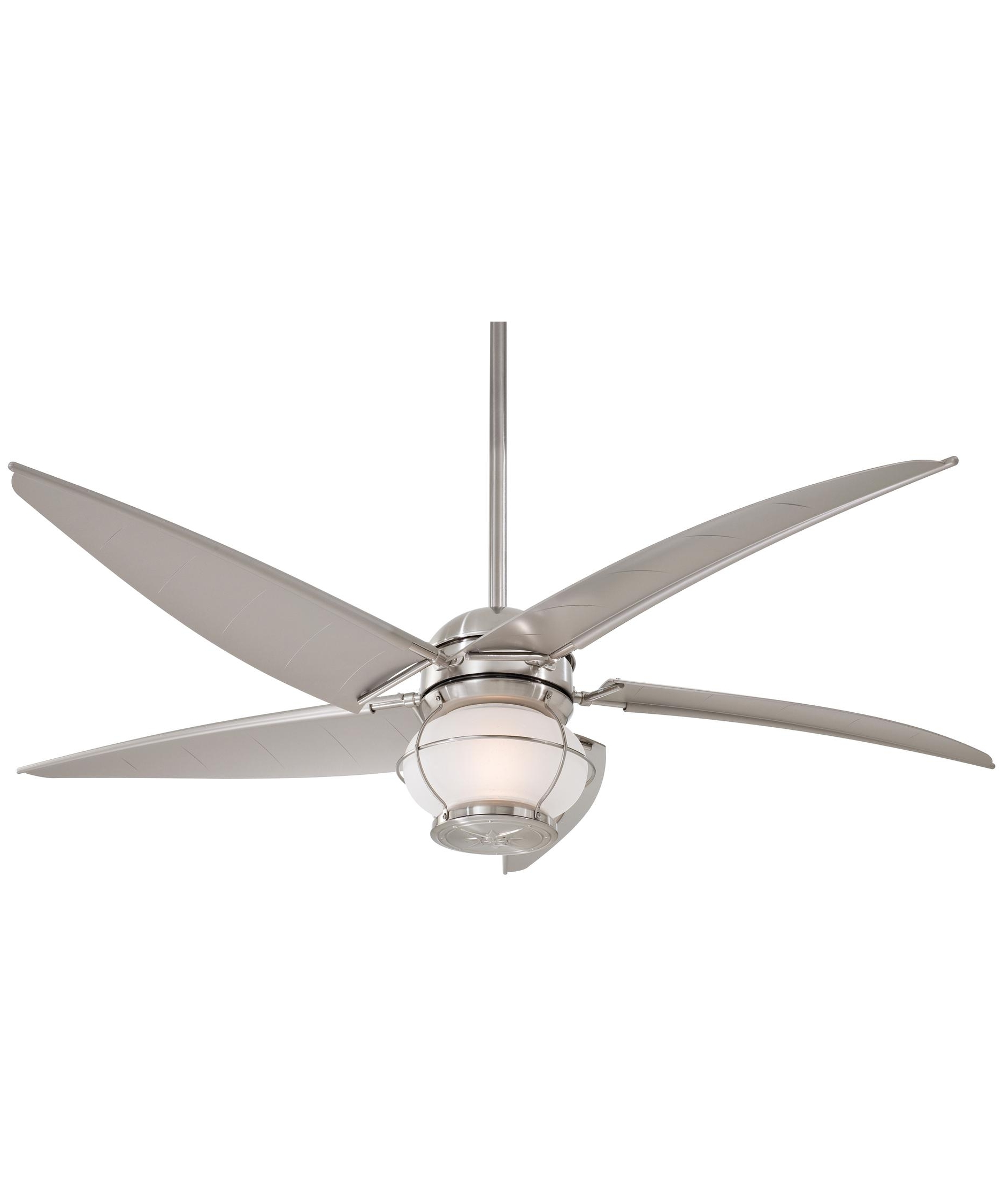 Brushed Nickel Outdoor Ceiling Fans With Light Inside Most Current Minka Aire F579 Magellan 60 Inch 5 Blade Ceiling Fan (View 2 of 20)