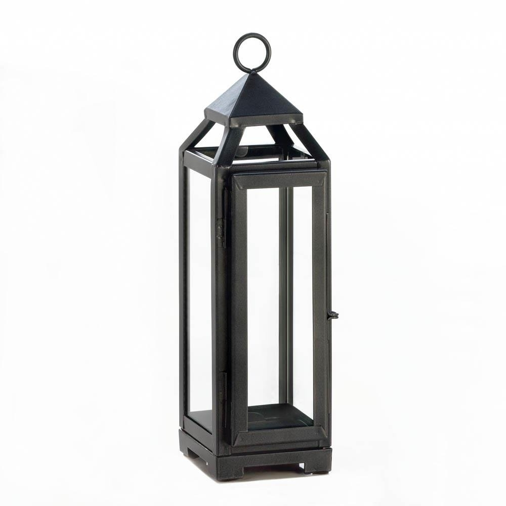 Candle Lantern Decor, Outdoor Rustic Iron Tall Slate Black Metal Intended For Famous Metal Outdoor Lanterns (View 2 of 20)