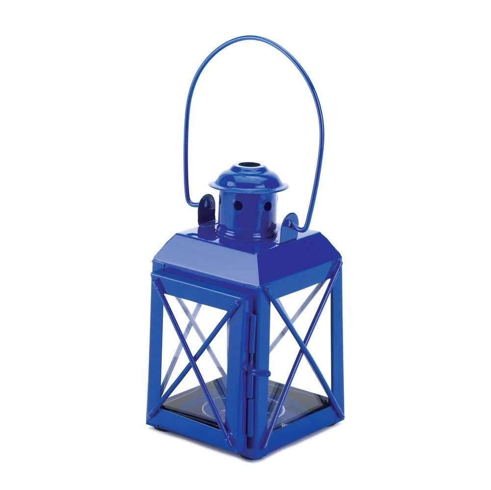 Candle Lantern, Vintage Centerpiece Rustic Decorative Railway Blue Throughout Popular Blue Outdoor Lanterns (View 1 of 20)