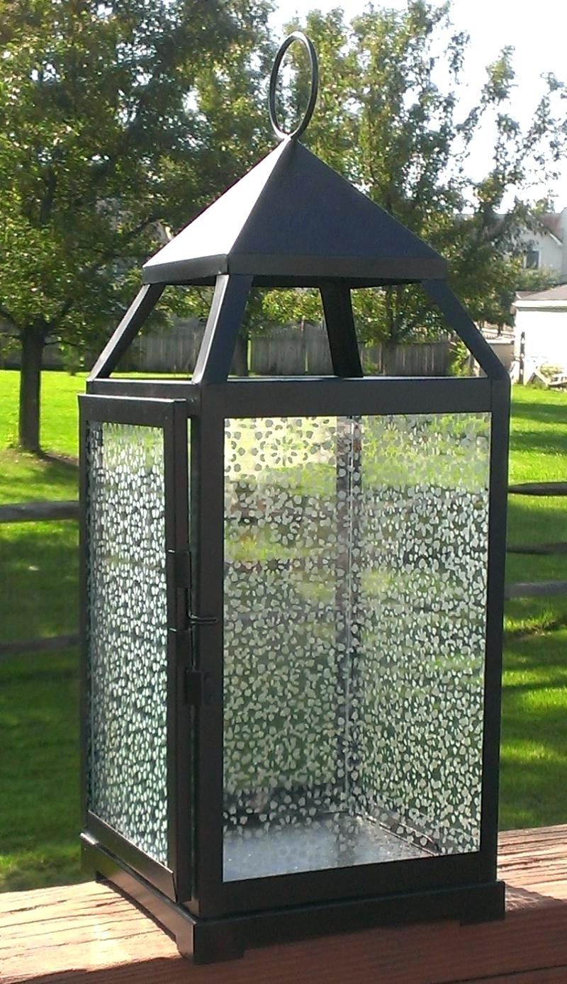 Candles ~ Large Garden Candle Lanterns In X Black Glass Solar Intended For Preferred Large Outdoor Decorative Lanterns (View 19 of 20)