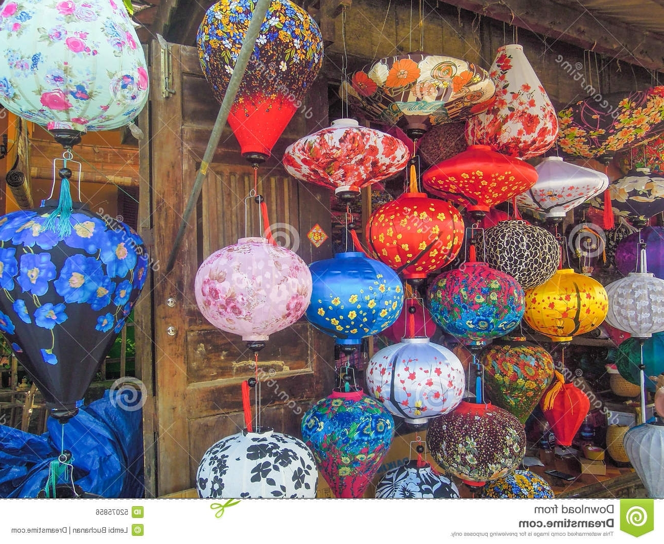Colorful Outdoor Lanterns Within Fashionable Colorful Chinese Lanterns For Sale At An Outdoor Market In Vietnam (View 9 of 20)