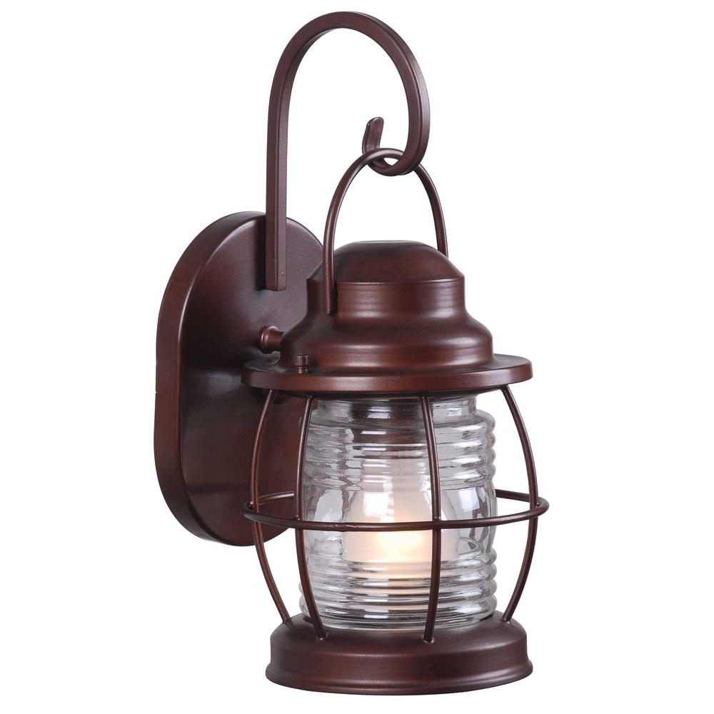 Copper Outdoor Electric Lanterns Within Favorite Home Decorators Collection Harbor 1 Light Copper Outdoor Small Wall (View 10 of 20)