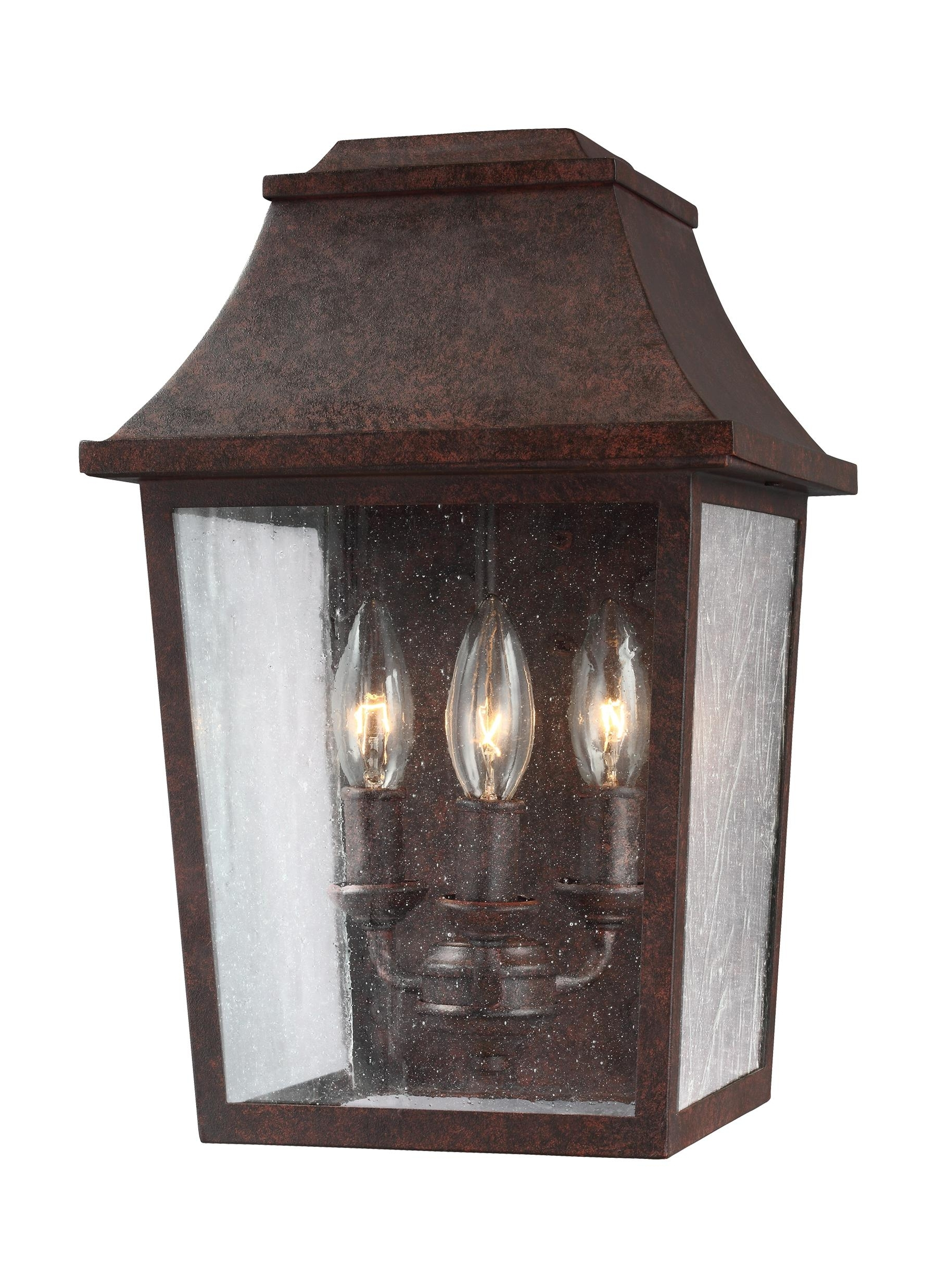 Copper Outdoor Lanterns With Preferred Ol11901Pcr,3 – Light Outdoor Wall Lantern,patina Copper (View 10 of 20)