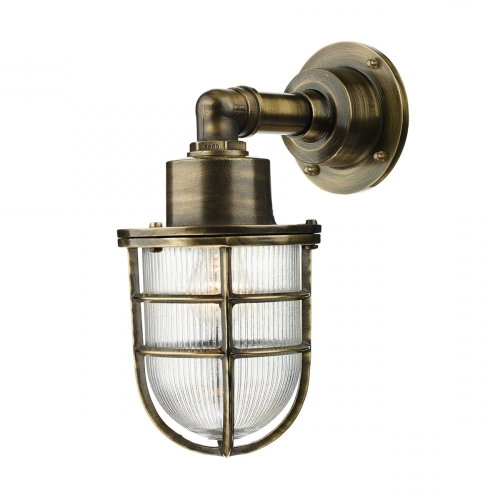 Crewe Nautical Industrial Style Outdoor Wall Light In Brass Throughout Well Known Industrial Outdoor Lanterns (View 1 of 20)