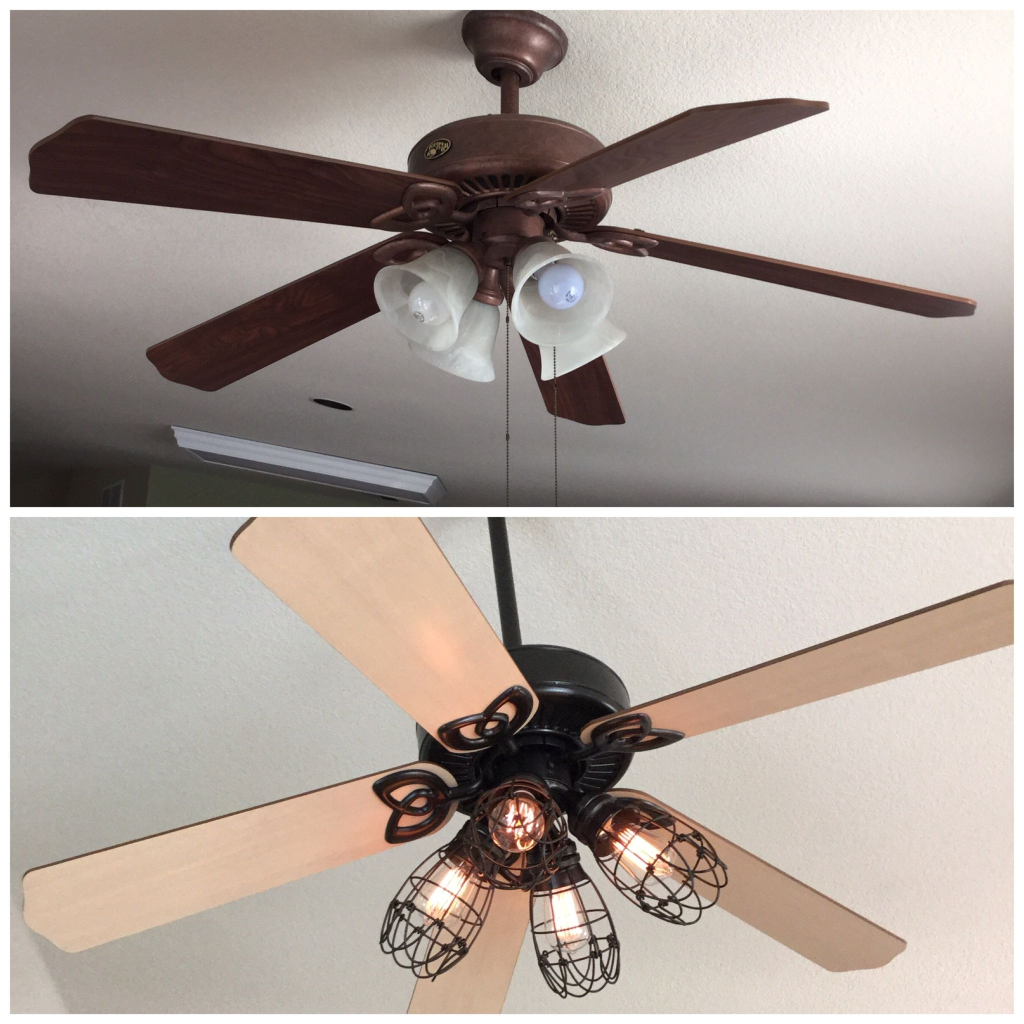 Current Diy Ceiling Fan Makeover: Add Cage Bulb Guards And Edison Bulbs With Outdoor Ceiling Fans With Guard (View 11 of 20)