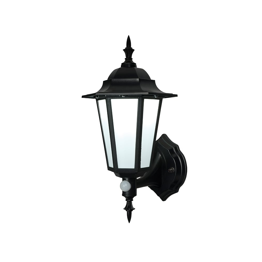 Current Endon Evesham Black Outdoor Led Wall Light With Sensor Pertaining To Outdoor Pir Lanterns (View 3 of 20)