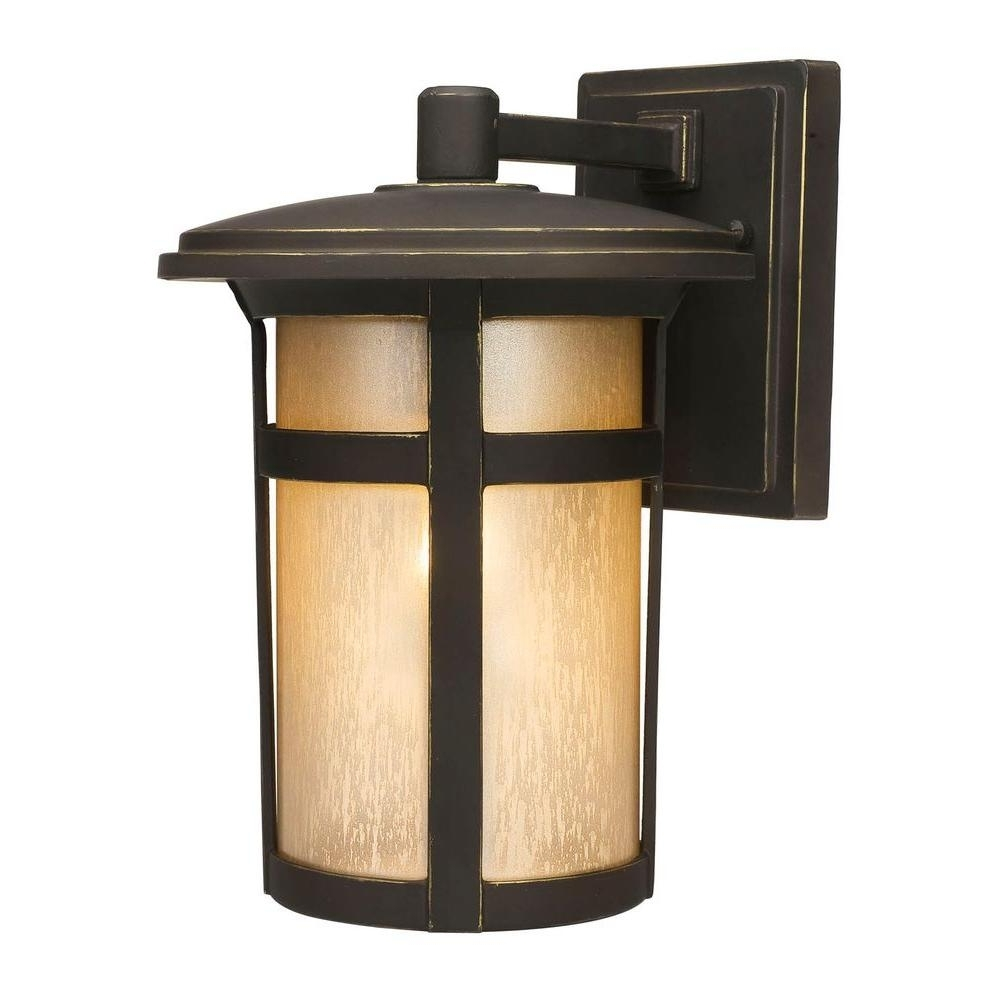 Current Home Depot Outdoor Lanterns Regarding Home Decorators Collection Round Craftsman 1 Light Dark Rubbed (View 17 of 20)