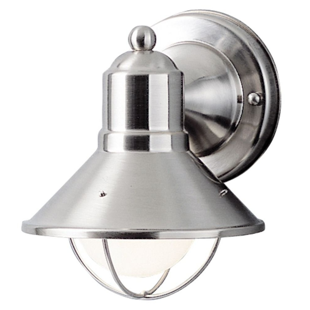 Current Kichler 7 1/2 Inch Nautical Outdoor Wall Light With Led Bulb Throughout Nickel Outdoor Lanterns (View 5 of 20)