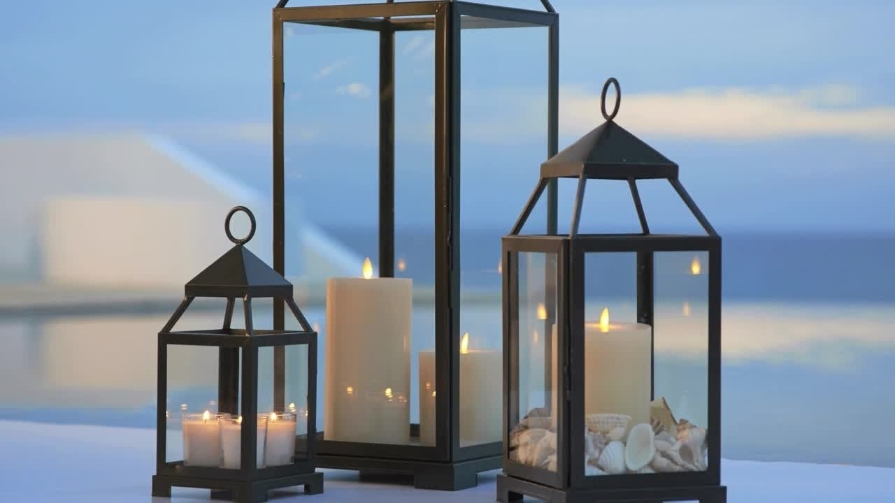 Current Large Outdoor Decorative Lanterns Throughout Large Black Lanterns Outdoor Decorative Lantern With White Candles (Gallery 8 of 20)