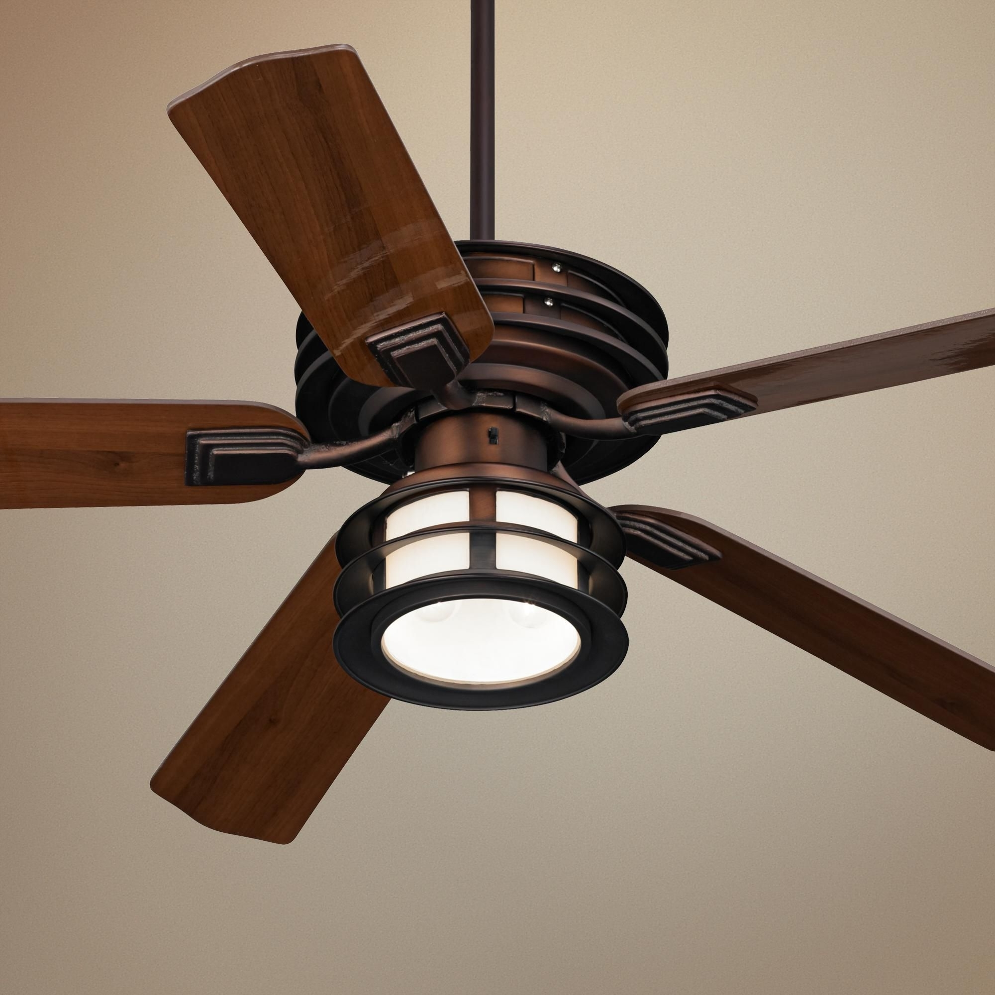 "Current Mission Style Outdoor Ceiling Fans With Lights With Regard To 52"" Casa Vieja Mission Ii Bronze Outdoor Ceiling Fan (View 7 of 20)"